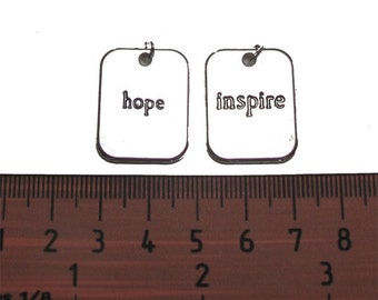 Silver Plated 20mm x 25mm INSPIRE and HOPE Words Pendants Set, 1034-11