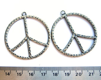 Antiqued Brass Round Peace Sign 40mm Pendant, Set of 2, 1065-01