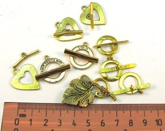 Gold Metal Designers Assorted Toggle Clasps Set of 9, 1043-27