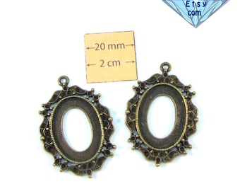 Antiqued Brass 40mm x 30mm  Oval Cabochon or Cameo Setting, DIY, Sold per 2 pc, 1014-04-1