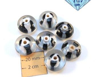Black and White Art Lampwork Czech Glass Beads, Set of 7, 1029-30