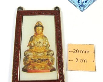 Antiqued Brass, Red Enameled border 60mm x 35mm Buddha Graphic Pendant, 1054-55-3