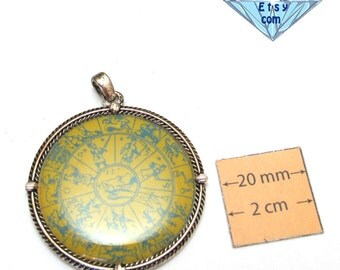 Antiqued Silver Framed 40mm Round, Horoscope Graphic Pendant, 1061-24