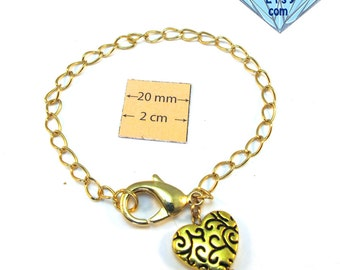 Gold Metal Chain Bracelet with a Heart Dangle and Large Lobster Clasp is ready for Charms or Dangles, A103
