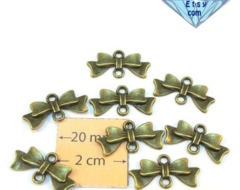 Antiqued Brass Metal 20mm x 10mm Bow Connector, Link, Sold per 8 pc, 1066-20