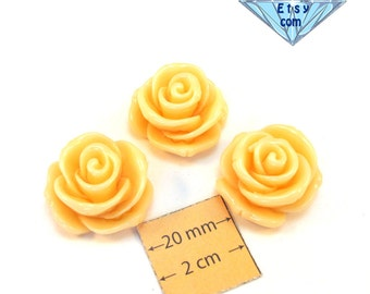 Light Salmon  Acrylic 25mm Highly Detailed Rose Cabochons, 13mm high, Set of 3, 1067-08