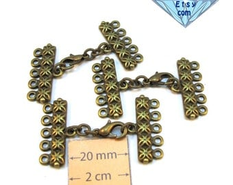 Antiqued Brass 40mm x 22mm 5-Strands Decorative Clasp, Set of 3,  1067-24