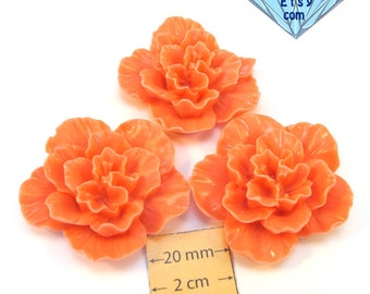 Light Salmon  Acrylic 42mm Highly Detailed Flower Cabochon, 12mm sick, Set of 3 pc, 1067-31