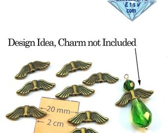 Antiqued Brass 21mm x 7mm Wings Spacer Bead, Set of 8 pc, 1068-14