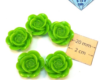Green  Acrylic 20mm Highly Detailed Flower Cabochons, Set of 5, 1068-31