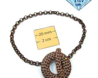 Antiqued Copper Chain Bracelet with a Decorative Toggle Clasp is ready for Charms or Dangles, 8 inches, A042