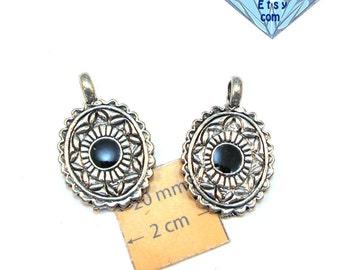 Antiqued Silver Black Enameled 30mm x 20mm Oval Pendant/Charm, Set of 2, 1069-20