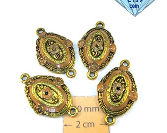 Antiqued Gold Metal and Salmon Pink 30mm x 18mm Vintage Style  Oval Connectors, Set of 4, 1071-10
