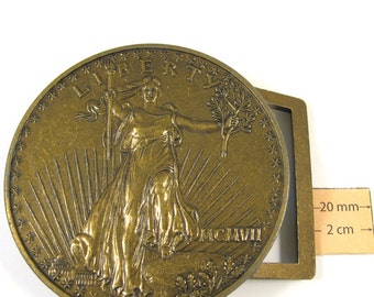 Antiqued Brass Metal Exact Copy of famous U.S. 20 Dollars Coin, 75mm Round  Belt Buckle, 1077-13
