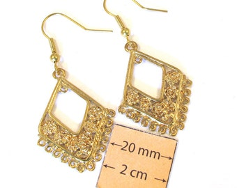 Gold Metal Chandelier 55mm x 25mm Filigree Style Earrings, Just Add Dangles, Sold per 1 Pair, 1079-09