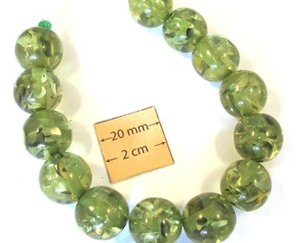 Olive Green Bubbled Resin 15mm Round Beads, Sold by 7 inches Strand or 13 pc, 1080-06-2