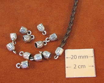Antiqued Silver Metal 10mm x 6mm Glue on, Bead Caps/Cones with Loop, Set of 12, 1081-06