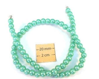 Light Green Glass Pearl 6mm Round Beads, Sold per 14 inches Strand, 1081-13