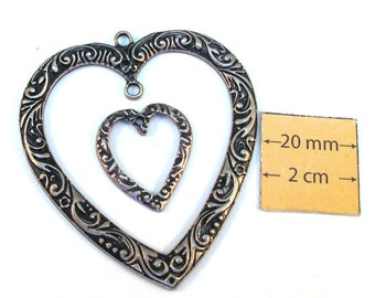 Antiqued Silver Metal 50mm x 55mm and 25mm x 20mm Two Heart Pendants Set, 1044-08