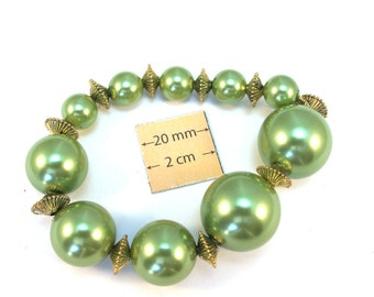 Green Glass Graduated Pearl Round Beads 20mm, 15mm, 10mm, metal spacers included, Sold per 10 pc,  1002-29