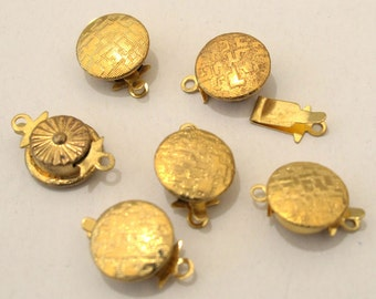 Gold Plated Metal Box Clasp 10mm Round, 1-Strand, Set of 6, 1083-07
