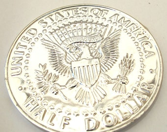 Silver metal Exact Copy of famous U.S. 50 cents/Half Dollar, 75mm Round  Decorative COIN, 1077-22