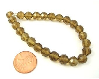 Dark Olive Faceted Czech Glass  8mm Round Beads Sold per 7'' strand or 24 pc, 1018-12