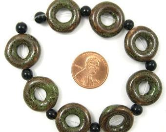 Donut, Porcelain, Dark Turquoise, Donut Beads 18mm Set of 8, 1028-07