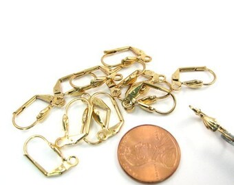 Gold Plated Metal Earrings Leverbacks Set of 14 (B1027)