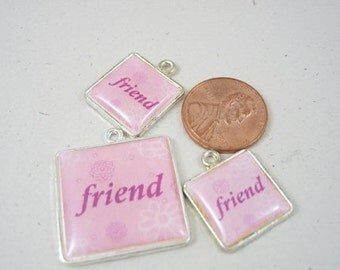 Silver Plated ''FRIEND'' Pendant and Two Charms Set, 099-07