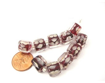 Red and White Czech Glass Lampwork 10mm x 10mm Cube Beads, Set of 10, 1025-13