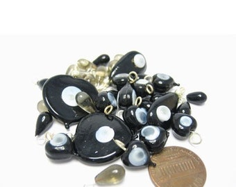 Black/Grey Evil Eye Wrapped Glass Beads/ Dangles Assortment Set of 34, 1023-06