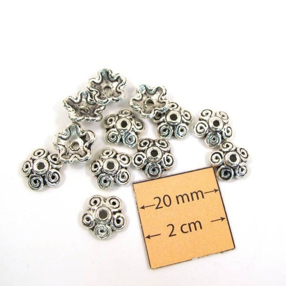 Antiqued Silver Flower 8mm Bead Cap, Sold per 12 pc, 1059-02