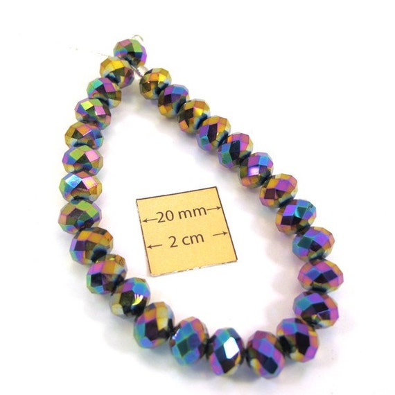 Rainbow Multi Color Faceted Crystal 8mm x 10mm Rondelle Glass Beads, Sold per 27 pc, 1016-15