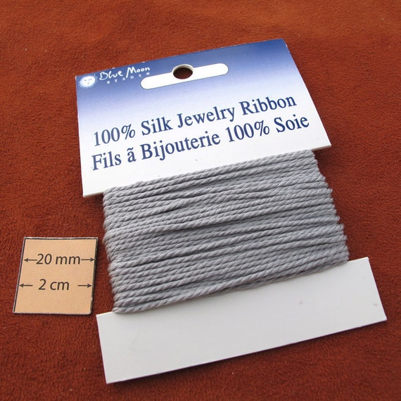 Grey, 3ply Twisted Cord, Great for Knotted Necklaces, 100% Pure Silk, Sold per 6 yards, 1012-11