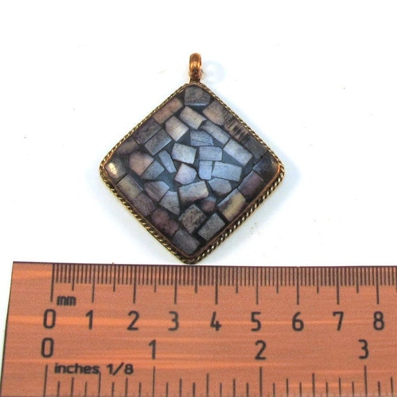 Antiqued Gold Metal Frame, Black Colored Shell Mosaic 50mm x 50mm Square Pendant, 1043-20