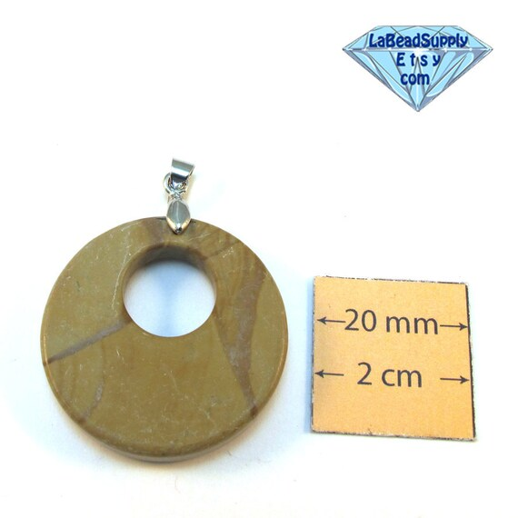 Coffee Brown Natural Stone 30mm Round Pendant with a Silver Bail , 1004-23-3