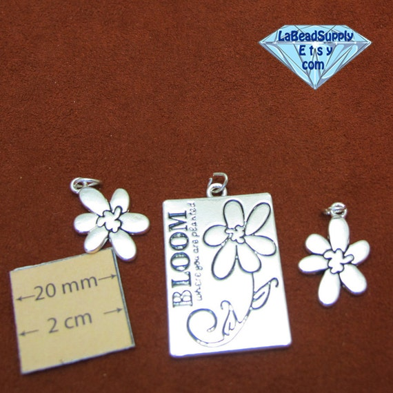 Silver Plated Metal Bloom  Set of Pendant and Two Flower Charms, 1061-16