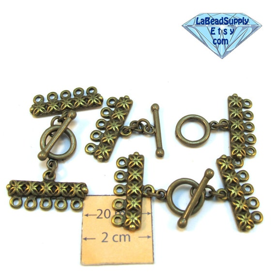 Antiqued Brass 45mm x 25mm 5-Strands Decorative Toggle Clasp, Set of 3,  1068-09