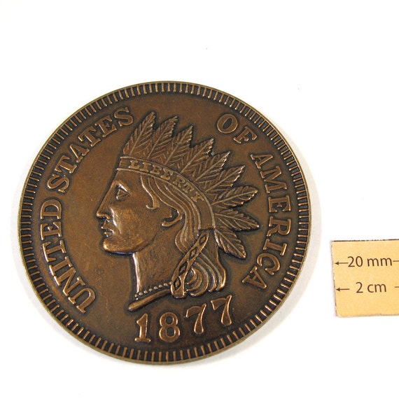 Antiqued Copper Metal Exact Copy of famous Indian Head U.S. 1 cent, 75mm Round  Decorative COIN, 1077-17-3