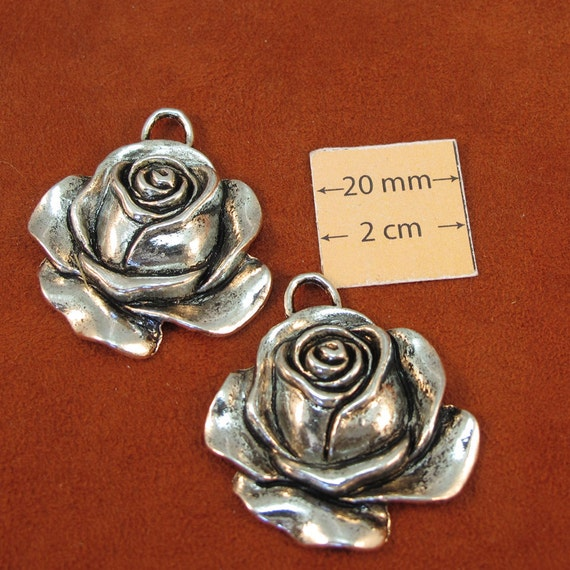 Antiqued Silver Metal 40mm x 32mm Rose Flower Pendant, Set of 2, 1081-10