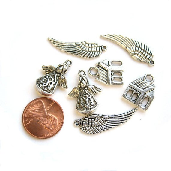 Antiqued Silver  Metal Wings and Angels Charms Set of 7, 1003-38