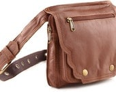 Leather Hip Bags (Burn Notice) - Chocolate available in two sizes