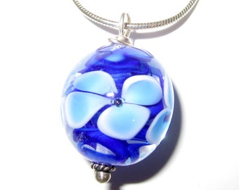 Blue Flower Lampworked Glass Necklace