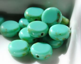 Last Listing - Stepping Stones - Czech Glass Beads, Opaque Turquoise, Picasso, Flat Coin Beads 11mm - Pc 10
