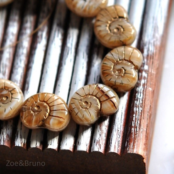 Last Listing - Found Fossils - Czech Glass Beads, Opaque, Transparent White, Brown, Metallic Copper, Shell 16x14mm - Pc 4
