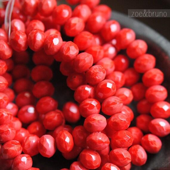 25 Sour Cherries - Czech Glass Rondelle Beads