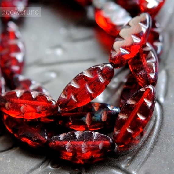 Last Listing - Red Wine - Czech Glass Beads, Translucent Red, Picasso, Spindles 17x8mm - Pc 4