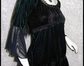 EARTH GODDESS  Rich Carpathian Forest Green & Black Velour and Mesh Top Corseted Back  Romantic Goth Witchy Romantic Goth Medieval