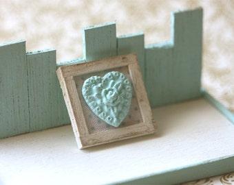 Dollhouse Miniature Blue Shabby Chic Framed Applique Decoration